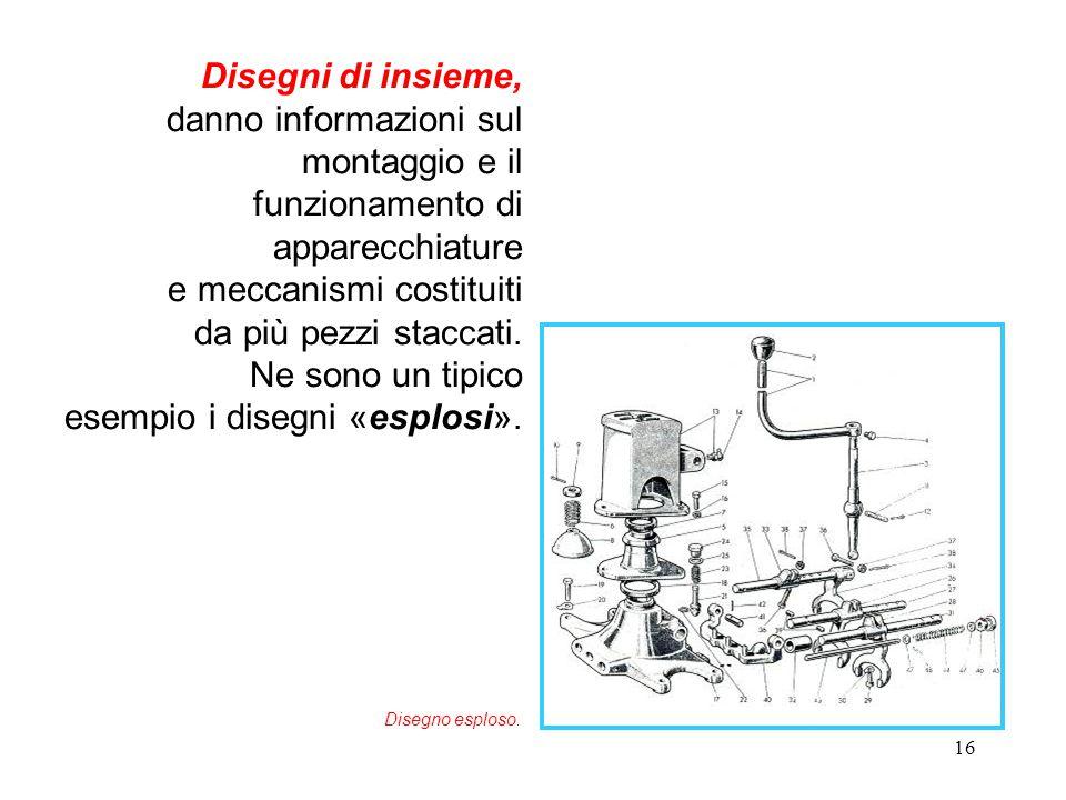 16 Disegni di insieme, danno informazioni sul montaggio e il funzionamento di apparecchiature e meccanismi costituiti da più pezzi staccati. Ne sono u