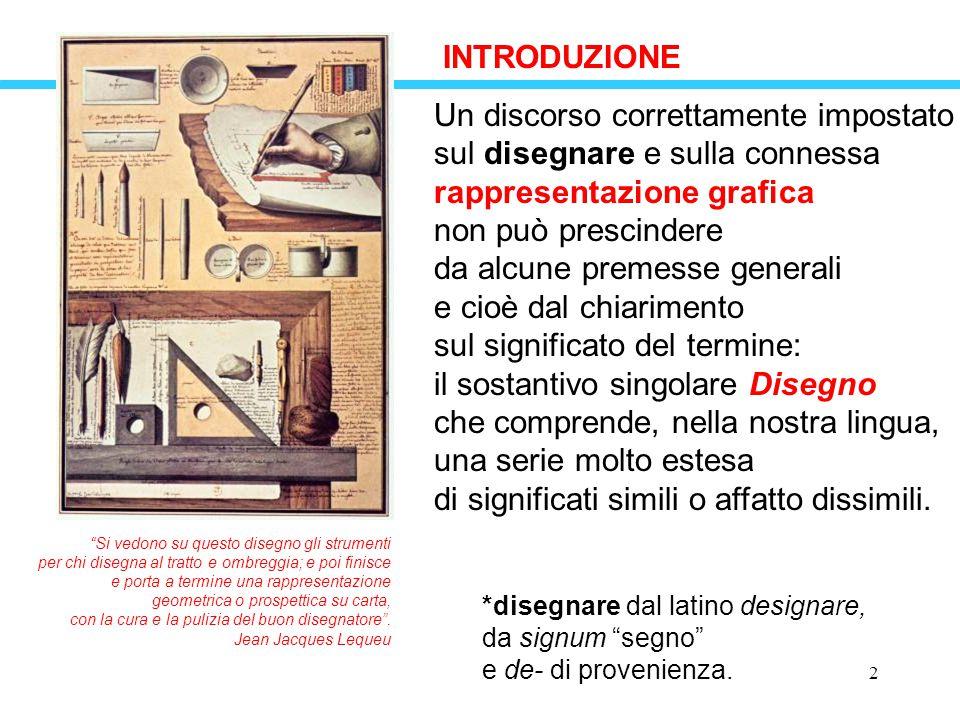 2 INTRODUZIONE Un discorso correttamente impostato sul disegnare e sulla connessa rappresentazione grafica non può prescindere da alcune premesse gene