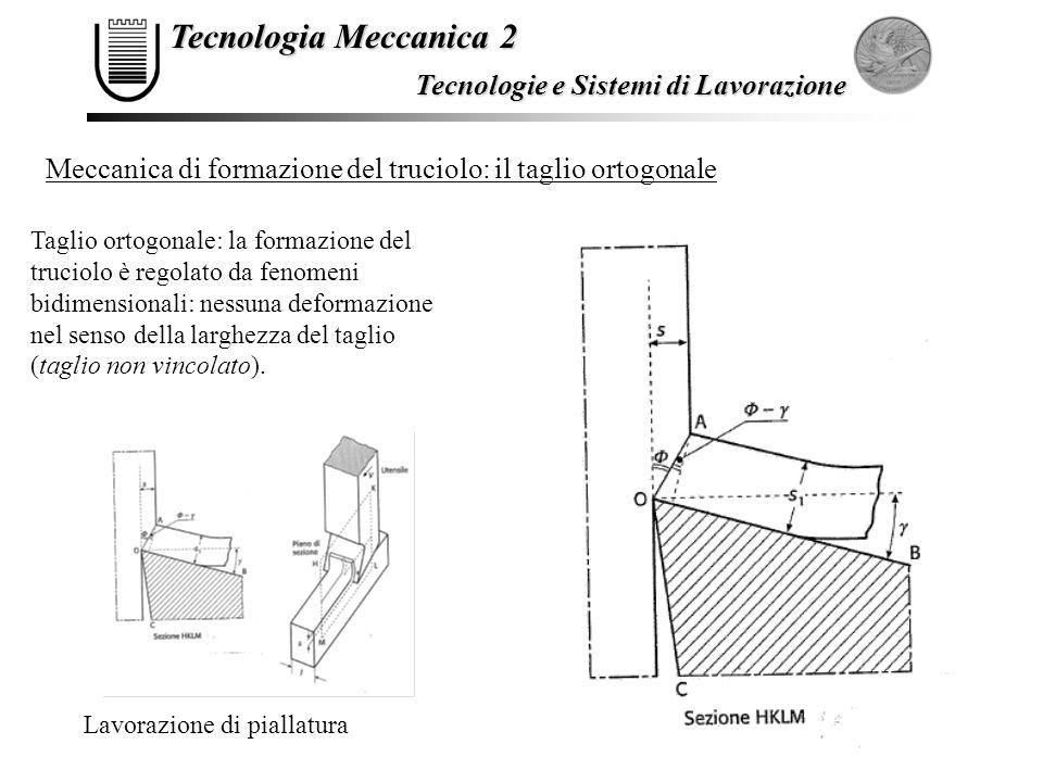 Tecnologia Meccanica 2 Tecnologie e Sistemi di Lavorazione Meccanica di formazione del truciolo: il taglio ortogonale Taglio ortogonale: la formazione
