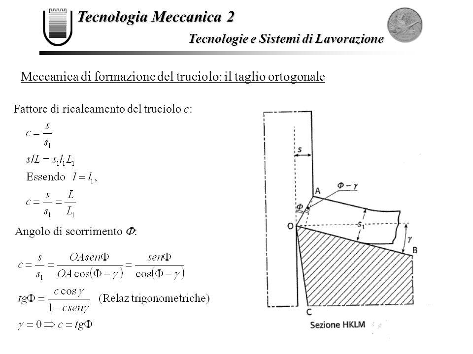 Tecnologia Meccanica 2 Tecnologie e Sistemi di Lavorazione Meccanica di formazione del truciolo: il taglio ortogonale Fattore di ricalcamento del truc