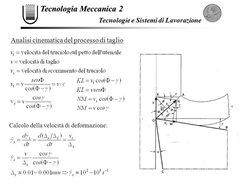 Tecnologia Meccanica 2 Tecnologie e Sistemi di Lavorazione Analisi cinematica del processo di taglio Calcolo della velocità di deformazione: