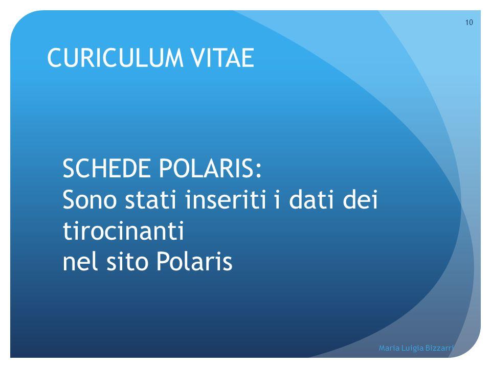 Maria Luigia Bizzarri 10 CURICULUM VITAE SCHEDE POLARIS: Sono stati inseriti i dati dei tirocinanti nel sito Polaris
