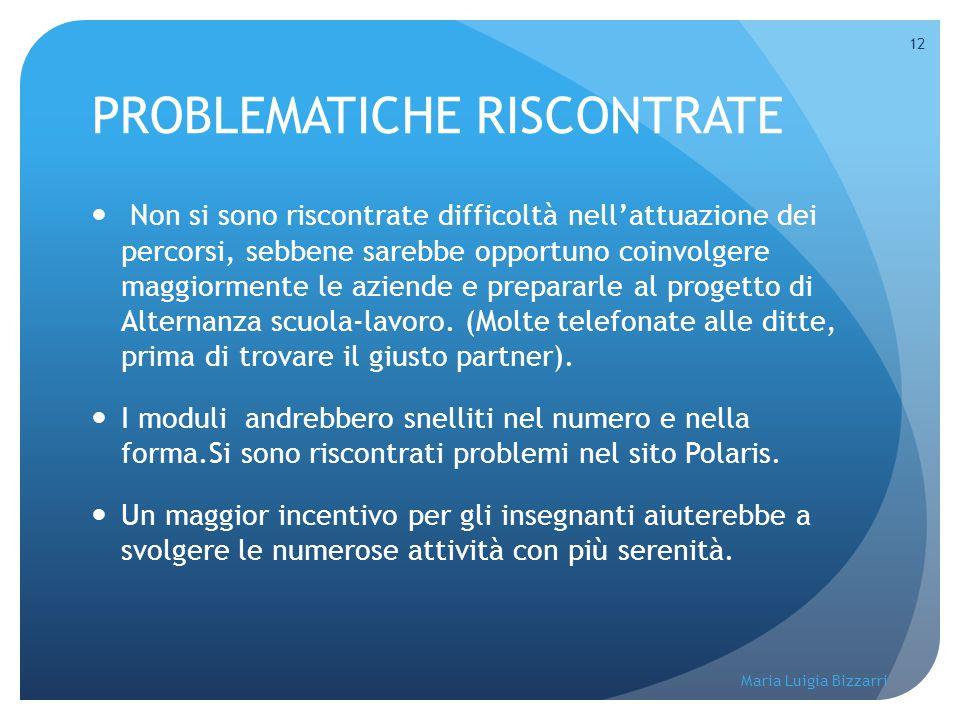 Maria Luigia Bizzarri 12 PROBLEMATICHE RISCONTRATE Non si sono riscontrate difficoltà nell'attuazione dei percorsi, sebbene sarebbe opportuno coinvolg