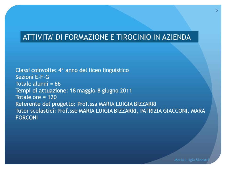 Maria Luigia Bizzarri 5 ATTIVITA' DI FORMAZIONE E TIROCINIO IN AZIENDA Classi coinvolte: 4° anno del liceo linguistico Sezioni E-F-G Totale alunni = 6