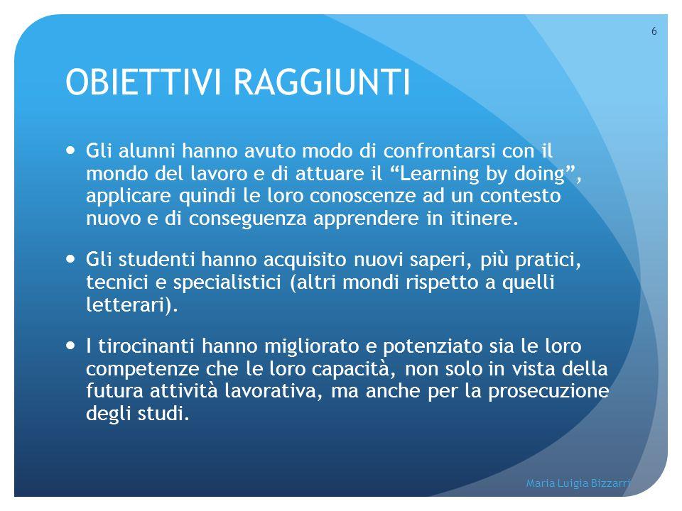 """Maria Luigia Bizzarri 6 OBIETTIVI RAGGIUNTI Gli alunni hanno avuto modo di confrontarsi con il mondo del lavoro e di attuare il """"Learning by doing"""", a"""