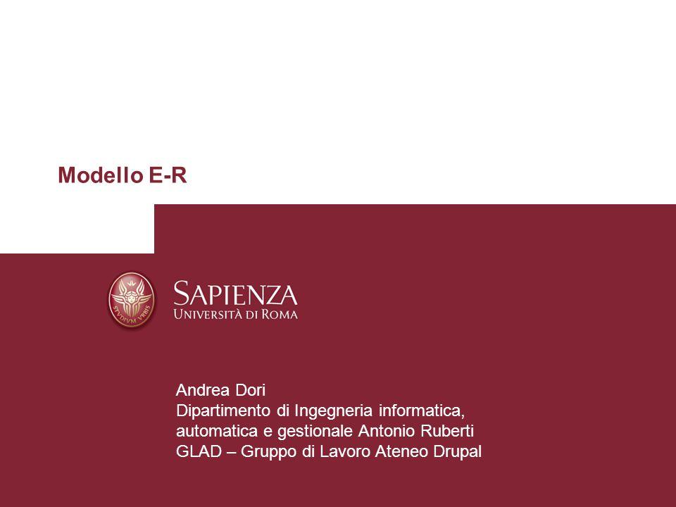 Modello E-R Andrea Dori Dipartimento di Ingegneria informatica, automatica e gestionale Antonio Ruberti GLAD – Gruppo di Lavoro Ateneo Drupal
