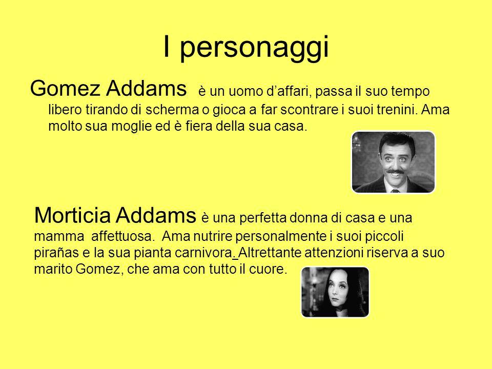 I personaggi Gomez Addams è un uomo d'affari, passa il suo tempo libero tirando di scherma o gioca a far scontrare i suoi trenini. Ama molto sua mogli