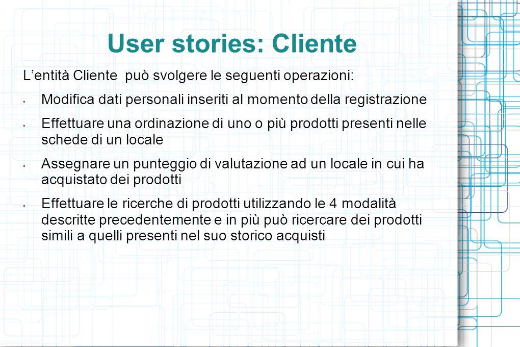User stories: Cliente L'entità Cliente può svolgere le seguenti operazioni: Modifica dati personali inseriti al momento della registrazione Effettuare