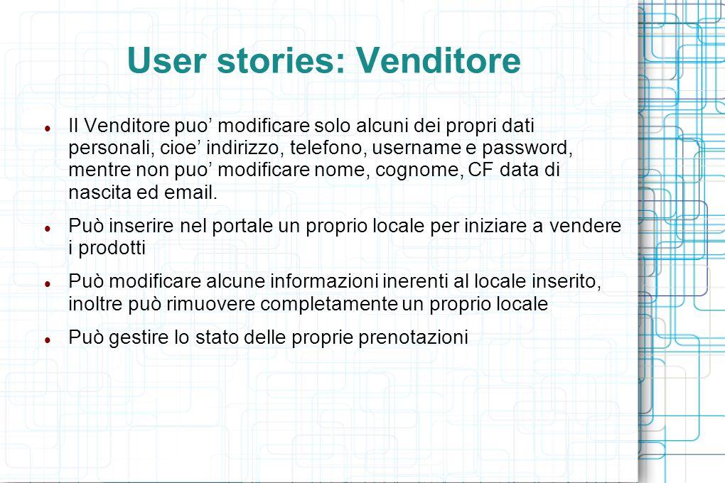 User stories: Venditore Il Venditore puo' modificare solo alcuni dei propri dati personali, cioe' indirizzo, telefono, username e password, mentre non puo' modificare nome, cognome, CF data di nascita ed email.