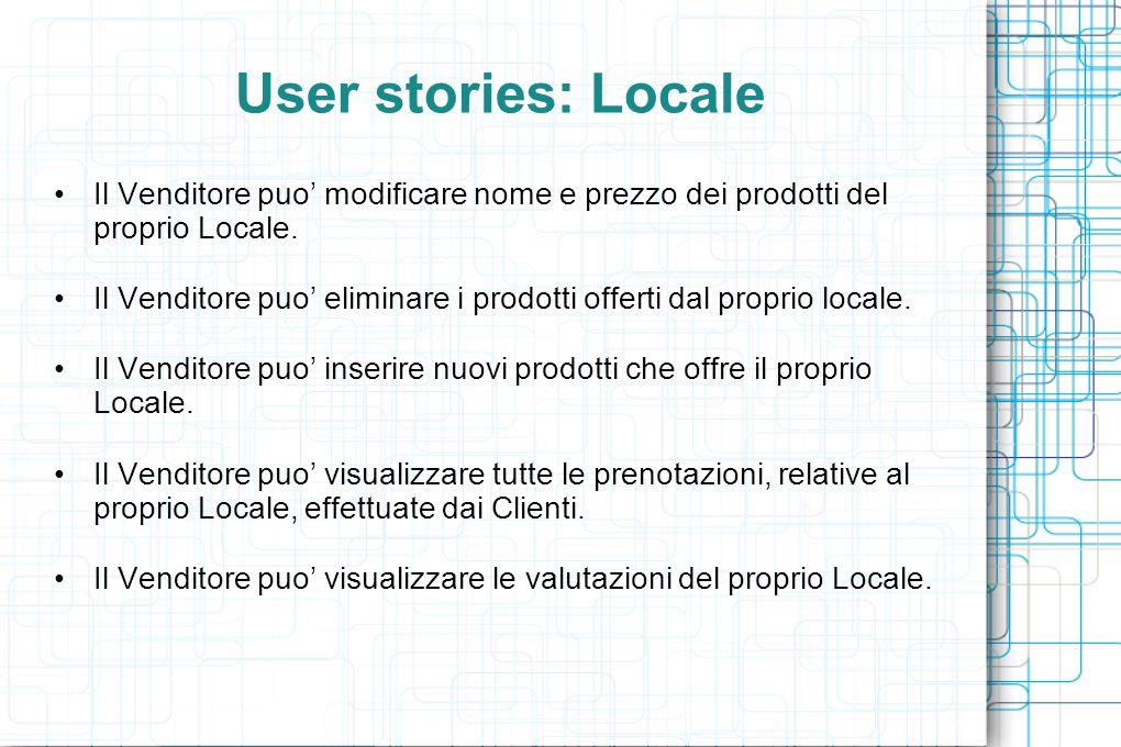 User stories: Locale Il Venditore puo' modificare nome e prezzo dei prodotti del proprio Locale. Il Venditore puo' eliminare i prodotti offerti dal pr