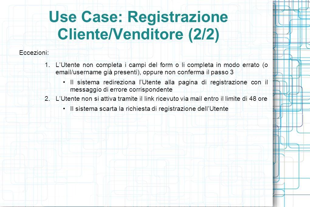 Use Case: Registrazione Cliente/Venditore (2/2) Eccezioni: 1.L'Utente non completa i campi del form o li completa in modo errato (o email/username già presenti), oppure non conferma il passo 3 Il sistema redireziona l'Utente alla pagina di registrazione con il messaggio di errore corrispondente 2.L'Utente non si attiva tramite il link ricevuto via mail entro il limite di 48 ore Il sistema scarta la richiesta di registrazione dell'Utente