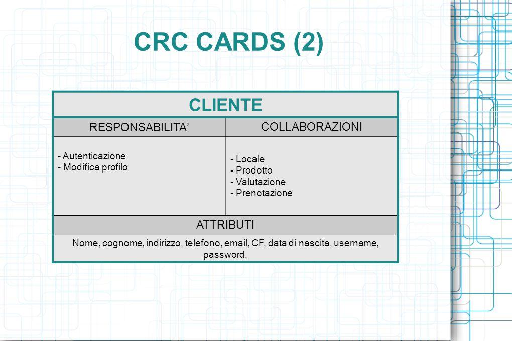 CRC CARDS (2) CLIENTE RESPONSABILITA ' COLLABORAZIONI - Autenticazione - Modifica profilo - Locale - Prodotto - Valutazione - Prenotazione ATTRIBUTI Nome, cognome, indirizzo, telefono, email, CF, data di nascita, username, password.