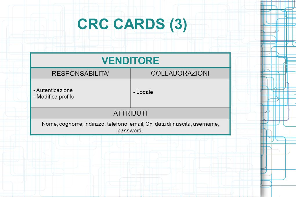 CRC CARDS (3) VENDITORE RESPONSABILITA ' COLLABORAZIONI - Autenticazione - Modifica profilo - Locale ATTRIBUTI Nome, cognome, indirizzo, telefono, email, CF, data di nascita, username, password.