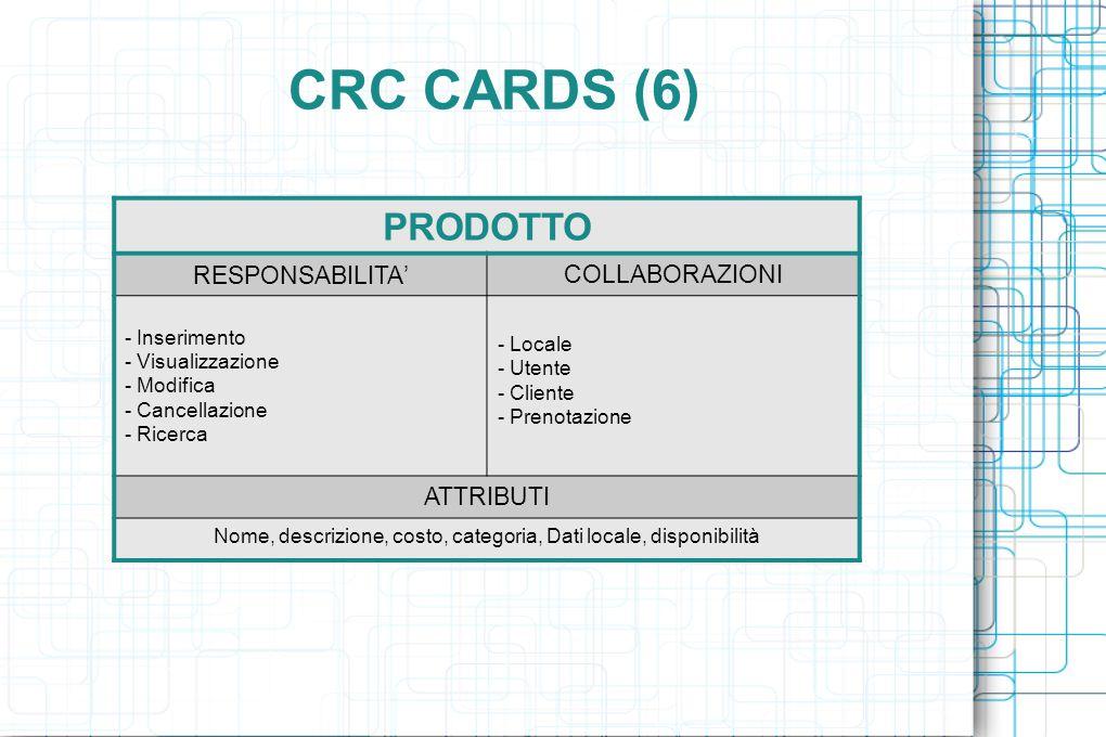 CRC CARDS (6) PRODOTTO RESPONSABILITA ' COLLABORAZIONI - Inserimento - Visualizzazione - Modifica - Cancellazione - Ricerca - Locale - Utente - Cliente - Prenotazione ATTRIBUTI Nome, descrizione, costo, categoria, Dati locale, disponibilità