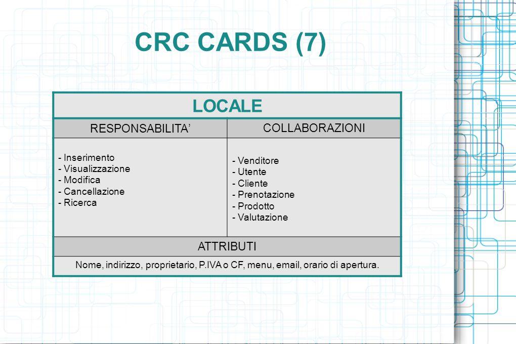 CRC CARDS (7) LOCALE RESPONSABILITA ' COLLABORAZIONI - Inserimento - Visualizzazione - Modifica - Cancellazione - Ricerca - Venditore - Utente - Cliente - Prenotazione - Prodotto - Valutazione ATTRIBUTI Nome, indirizzo, proprietario, P.IVA o CF, menu, email, orario di apertura.