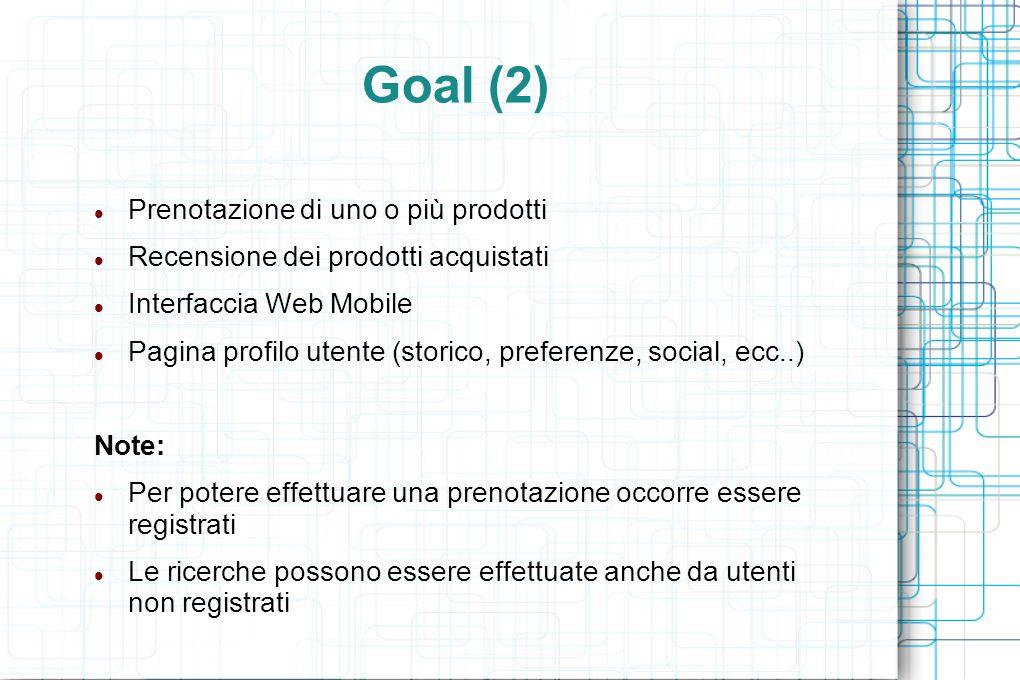 Goal (2) Prenotazione di uno o più prodotti Recensione dei prodotti acquistati Interfaccia Web Mobile Pagina profilo utente (storico, preferenze, soci