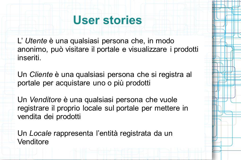 User stories L' Utente è una qualsiasi persona che, in modo anonimo, può visitare il portale e visualizzare i prodotti inseriti. Un Cliente è una qual