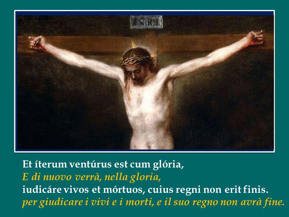 Et íterum ventúrus est cum glória, E di nuovo verrà, nella gloria, iudicáre vivos et mórtuos, cuius regni non erit finis.