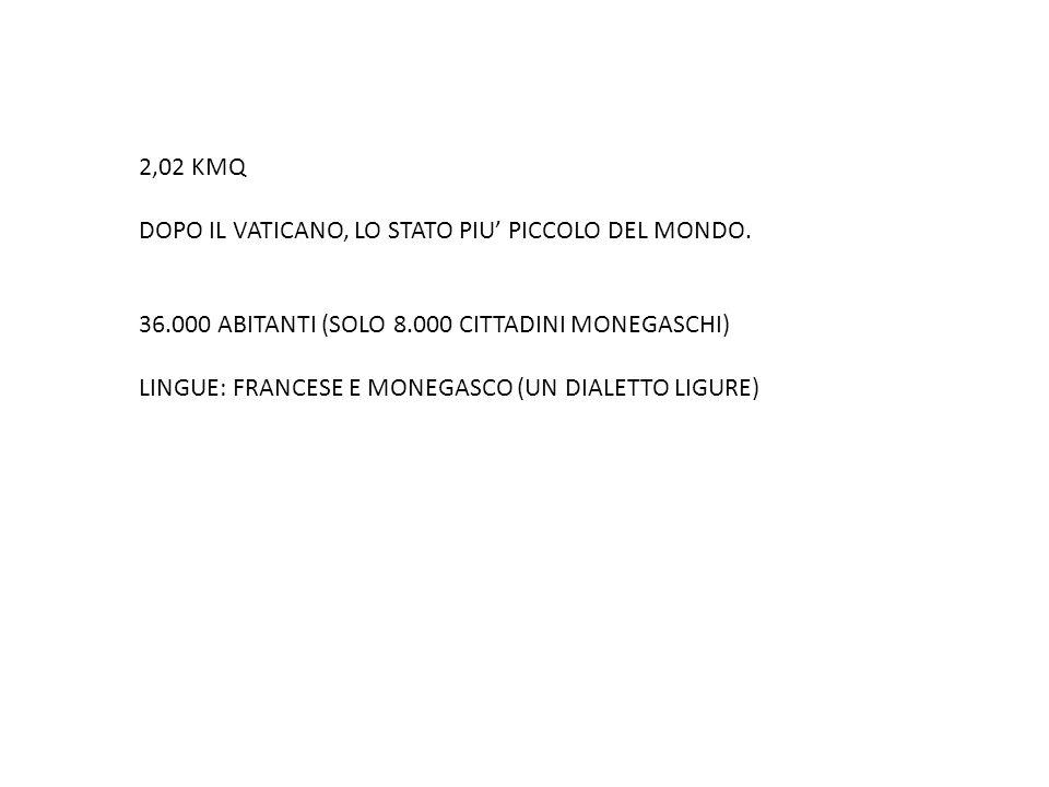 2,02 KMQ DOPO IL VATICANO, LO STATO PIU' PICCOLO DEL MONDO. 36.000 ABITANTI (SOLO 8.000 CITTADINI MONEGASCHI) LINGUE: FRANCESE E MONEGASCO (UN DIALETT