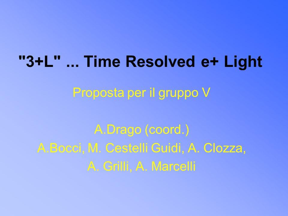 3+L ... Time Resolved e+ Light Proposta per il gruppo V A.Drago (coord.) A.Bocci, M.