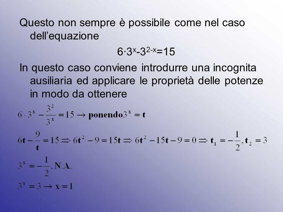 Questo non sempre è possibile come nel caso dell'equazione 6∙3 x -3 2-x =15 In questo caso conviene introdurre una incognita ausiliaria ed applicare l