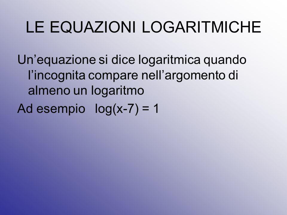 LE EQUAZIONI LOGARITMICHE Un'equazione si dice logaritmica quando l'incognita compare nell'argomento di almeno un logaritmo Ad esempio log(x-7) = 1