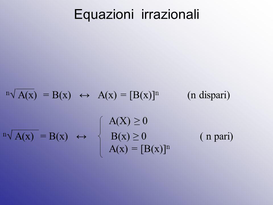 Equazioni irrazionali n √ A(x) = B(x) ↔ A(x) = [B(x)] n (n dispari) A(X) ≥ 0 n √ A(x) = B(x) ↔ B(x) ≥ 0 ( n pari) A(x) = [B(x)] n