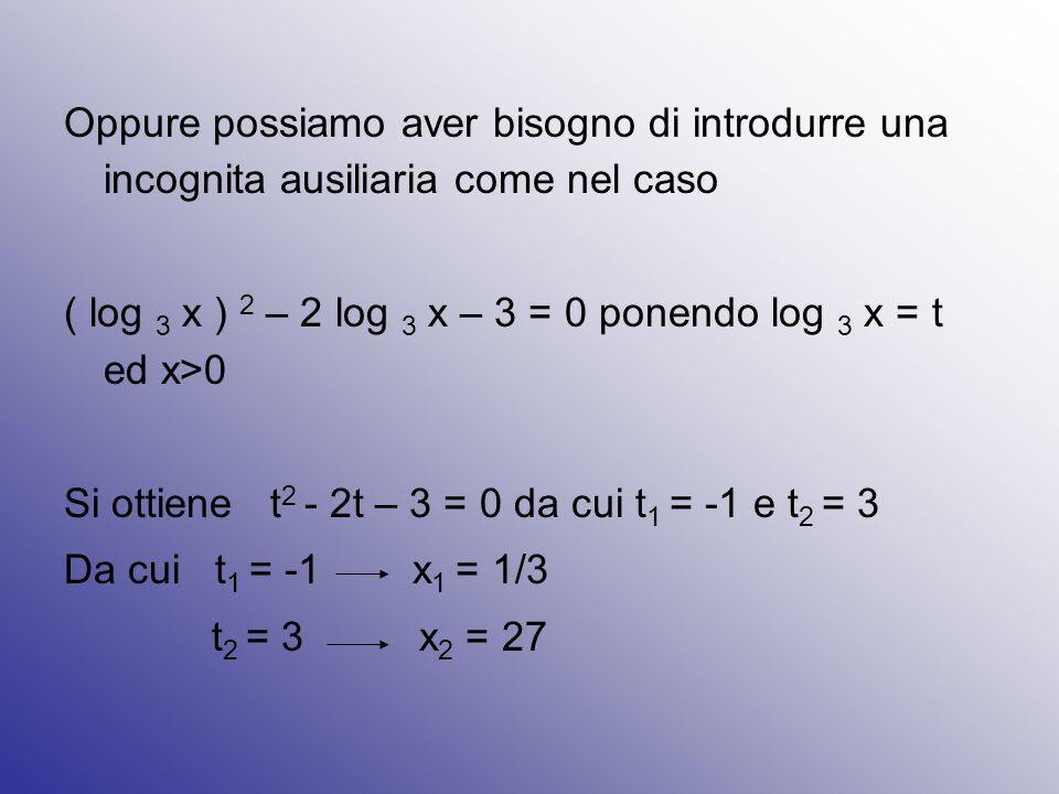 Oppure possiamo aver bisogno di introdurre una incognita ausiliaria come nel caso ( log 3 x ) 2 – 2 log 3 x – 3 = 0 ponendo log 3 x = t ed x>0 Si otti