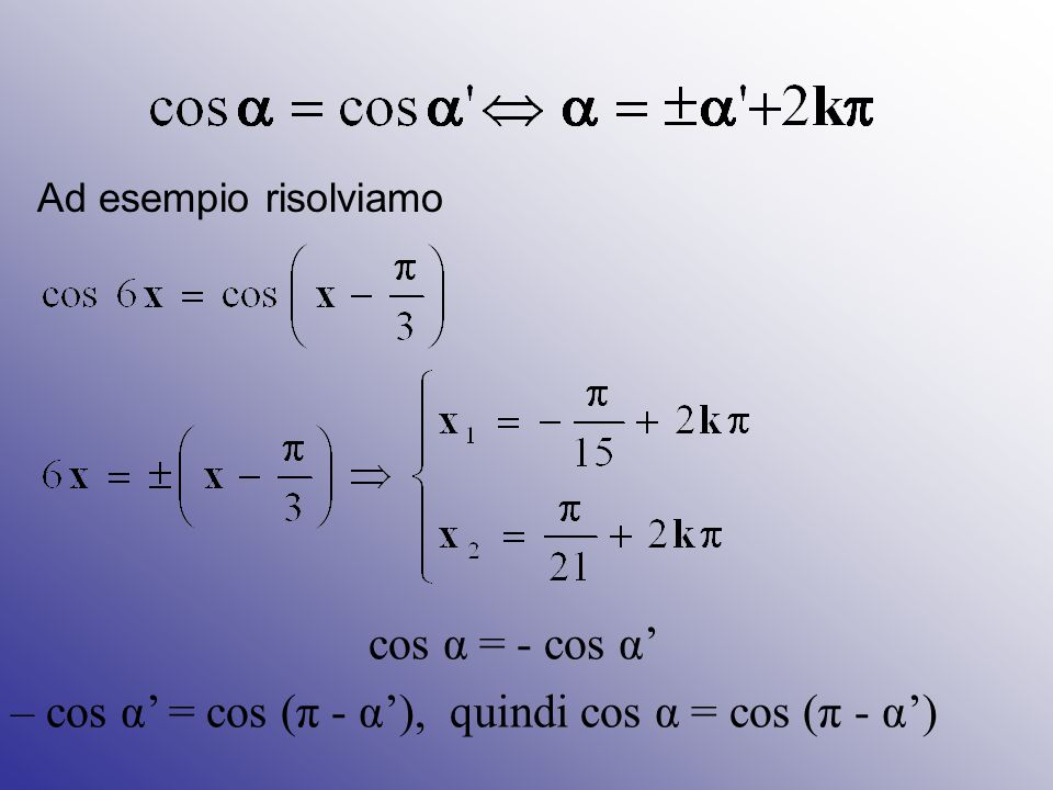 Ad esempio risolviamo cos α = - cos α' – cos α' = cos (π - α'), quindi cos α = cos (π - α')
