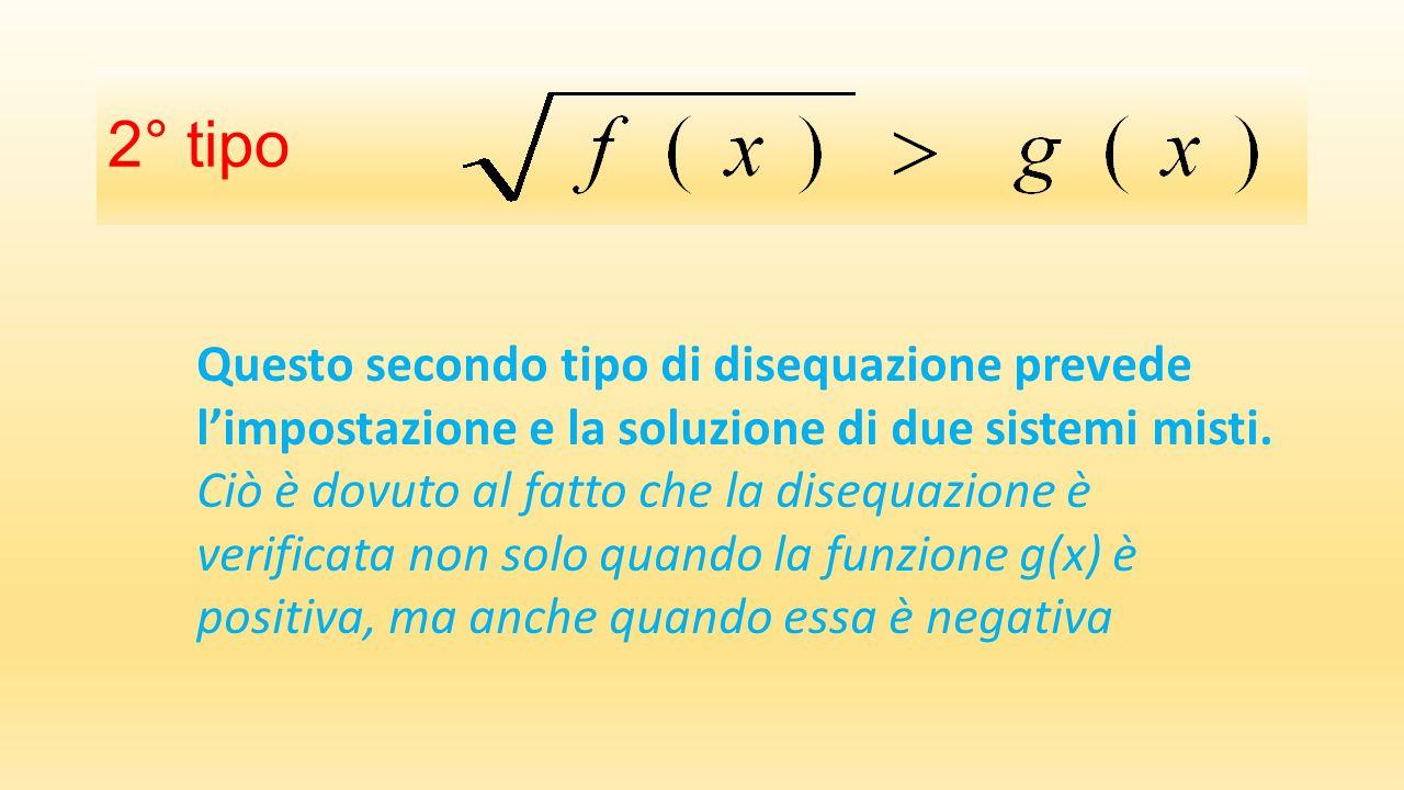 2° tipo Questo secondo tipo di disequazione prevede l'impostazione e la soluzione di due sistemi misti.