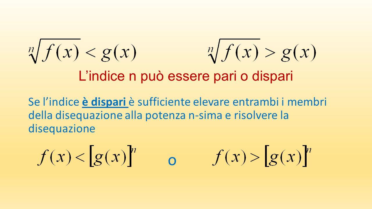 L'indice n può essere pari o dispari Se l'indice è dispari è sufficiente elevare entrambi i membri della disequazione alla potenza n-sima e risolvere la disequazione o