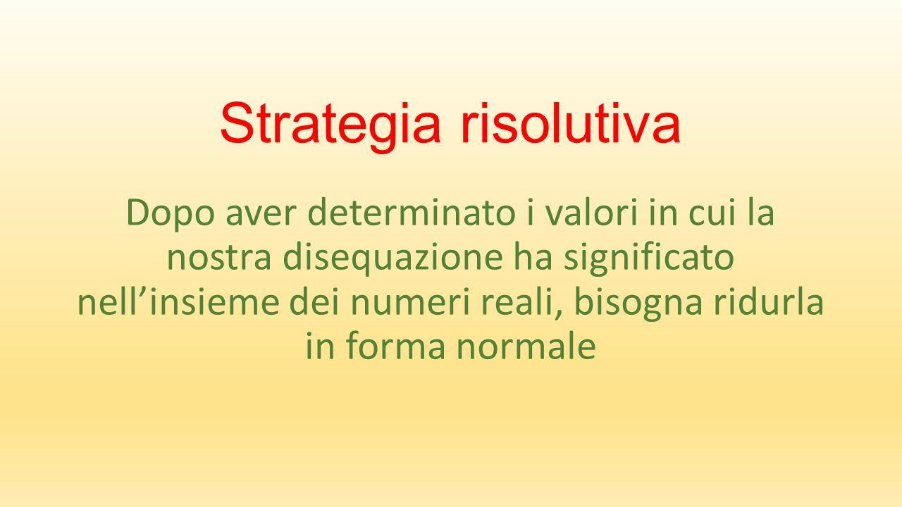 Strategia risolutiva Dopo aver determinato i valori in cui la nostra disequazione ha significato nell'insieme dei numeri reali, bisogna ridurla in forma normale