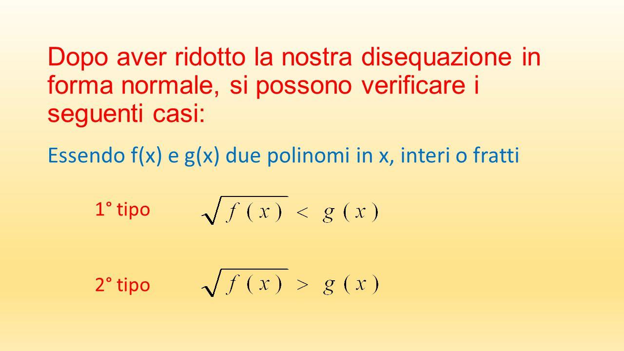 Dopo aver ridotto la nostra disequazione in forma normale, si possono verificare i seguenti casi: Essendo f(x) e g(x) due polinomi in x, interi o fratti 1° tipo 2° tipo