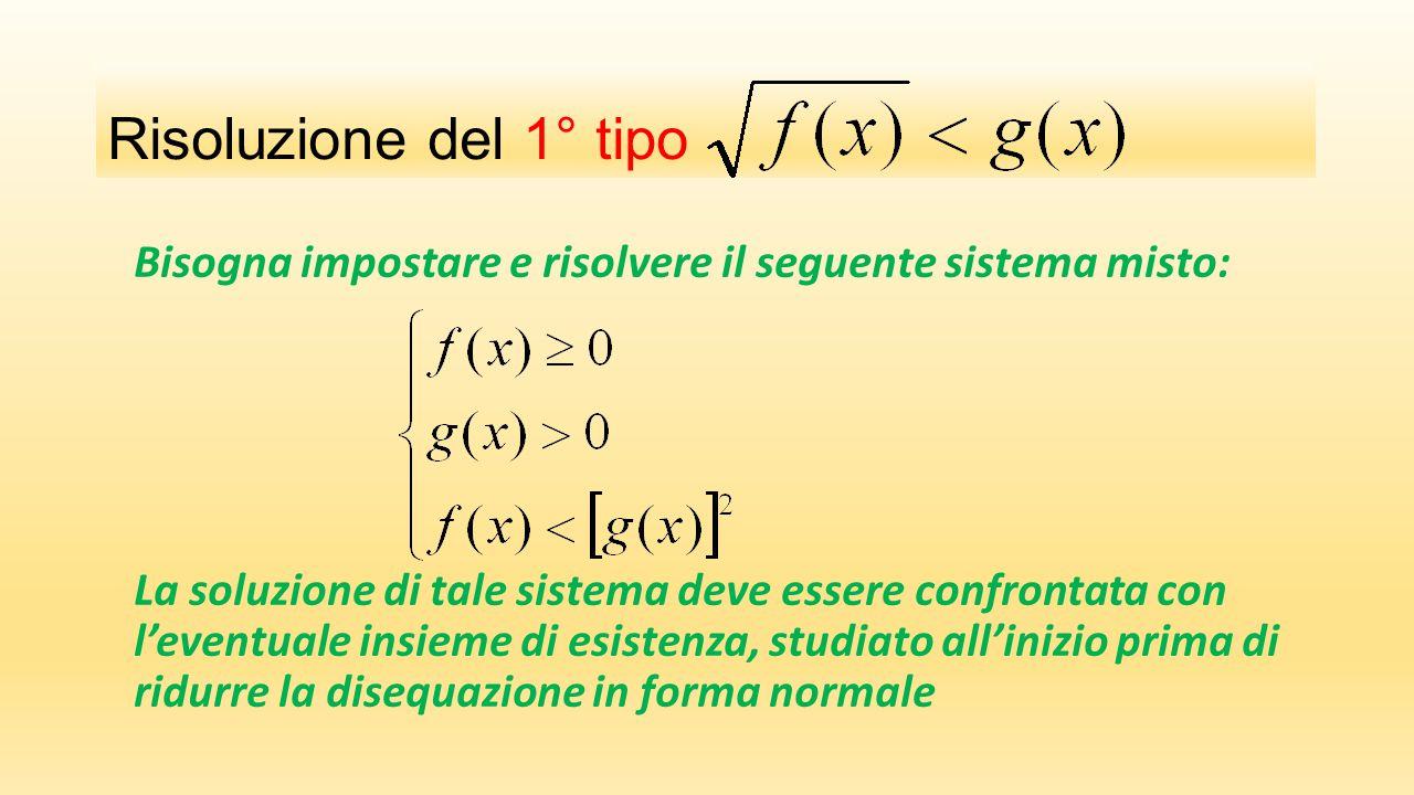 Risoluzione del 1° tipo Bisogna impostare e risolvere il seguente sistema misto: La soluzione di tale sistema deve essere confrontata con l'eventuale insieme di esistenza, studiato all'inizio prima di ridurre la disequazione in forma normale