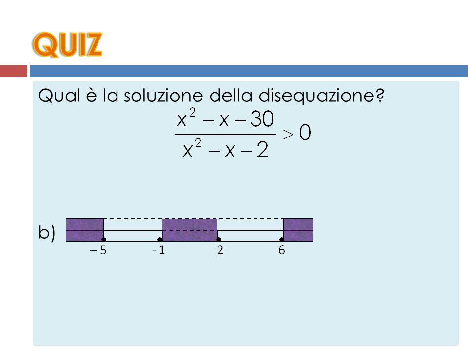 Qual è la soluzione della disequazione? a) b) c) d)