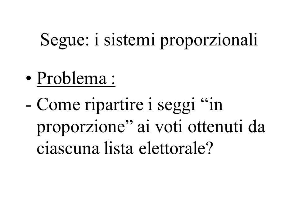 Segue: i sistemi proporzionali Problema : -Come ripartire i seggi in proporzione ai voti ottenuti da ciascuna lista elettorale