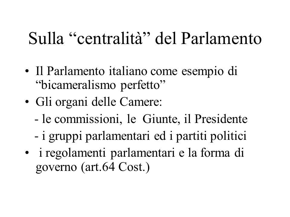 Sulla centralità del Parlamento Il Parlamento italiano come esempio di bicameralismo perfetto Gli organi delle Camere: - le commissioni, le Giunte, il Presidente - i gruppi parlamentari ed i partiti politici i regolamenti parlamentari e la forma di governo (art.64 Cost.)