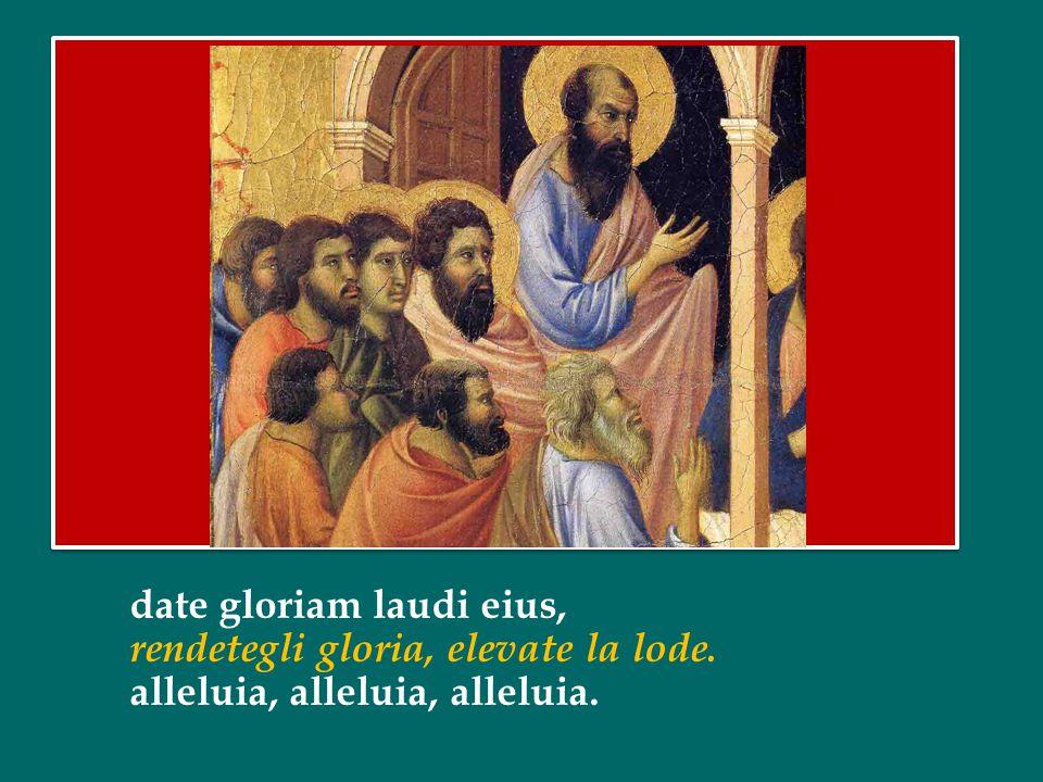 date gloriam laudi eius, rendetegli gloria, elevate la lode. alleluia, alleluia, alleluia.