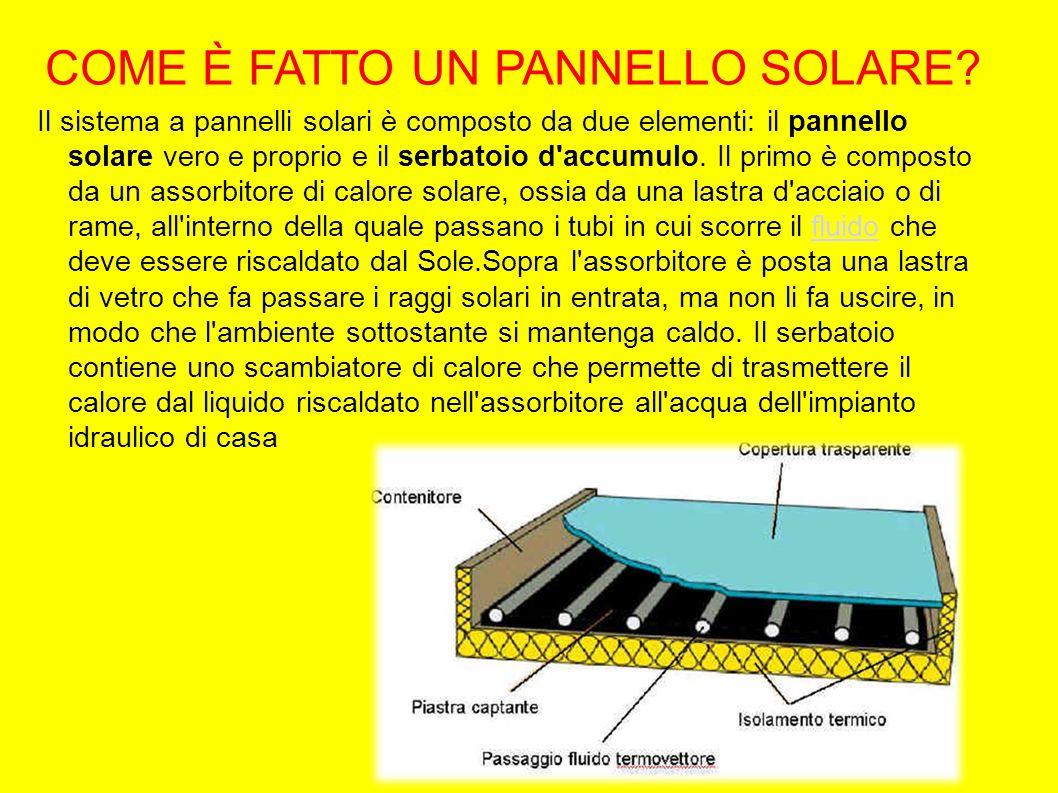 COME È FATTO UN PANNELLO SOLARE? Il sistema a pannelli solari è composto da due elementi: il pannello solare vero e proprio e il serbatoio d'accumulo.