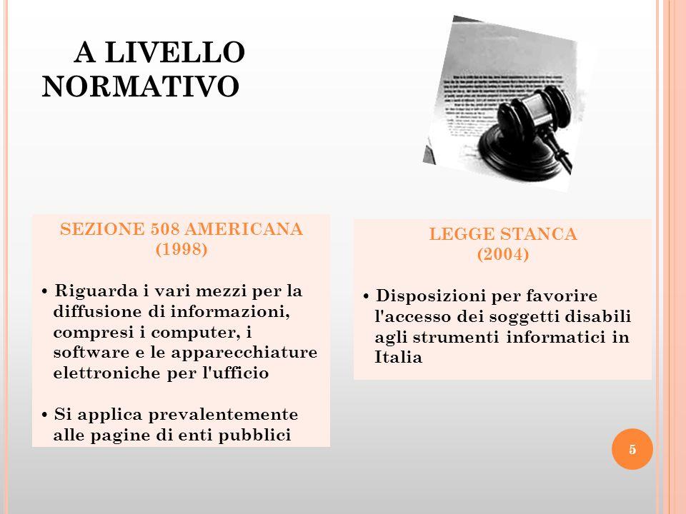 A LIVELLO NORMATIVO SEZIONE 508 AMERICANA (1998) Riguarda i vari mezzi per la diffusione di informazioni, compresi i computer, i software e le apparec