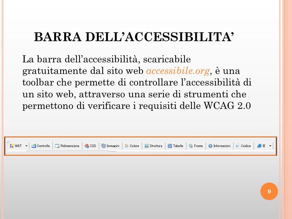 BARRA DELL'ACCESSIBILITA' La barra dell'accessibilità, scaricabile gratuitamente dal sito web accessibile.org, è una toolbar che permette di controllare l'accessibilità di un sito web, attraverso una serie di strumenti che permettono di verificare i requisiti delle WCAG 2.0 9