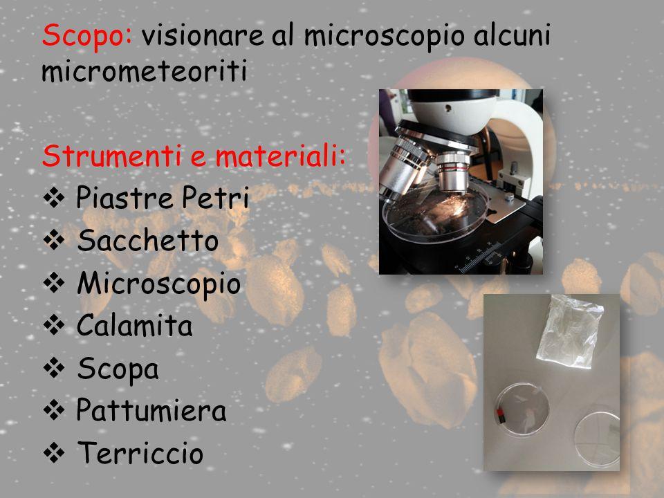 Scopo: visionare al microscopio alcuni micrometeoriti Strumenti e materiali:  Piastre Petri  Sacchetto  Microscopio  Calamita  Scopa  Pattumiera