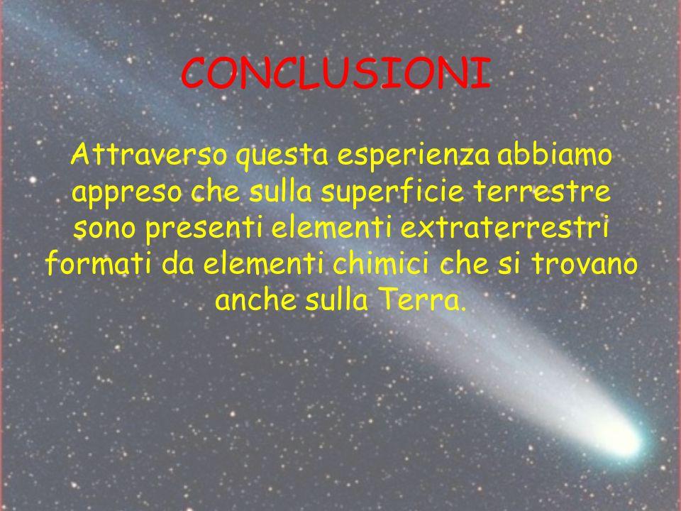CONCLUSIONI Attraverso questa esperienza abbiamo appreso che sulla superficie terrestre sono presenti elementi extraterrestri formati da elementi chim