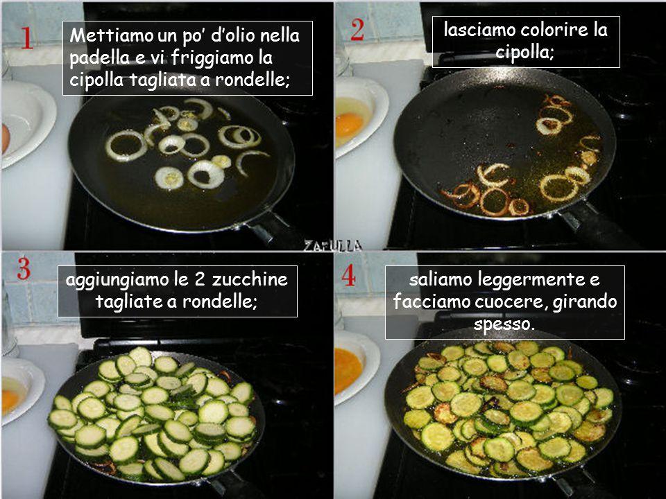 Ingredienti: 2 zucchine; 2 uova; mezza cipolla; sale, olio; pepe (secondo i gusti)