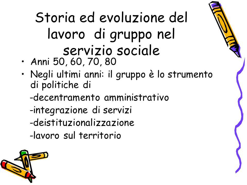 Storia ed evoluzione del lavoro di gruppo nel servizio sociale Anni 50, 60, 70, 80 Negli ultimi anni: il gruppo è lo strumento di politiche di -decent