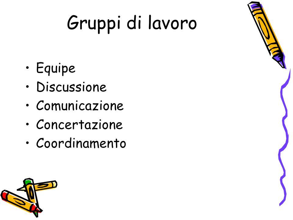 Gruppi di lavoro Equipe Discussione Comunicazione Concertazione Coordinamento