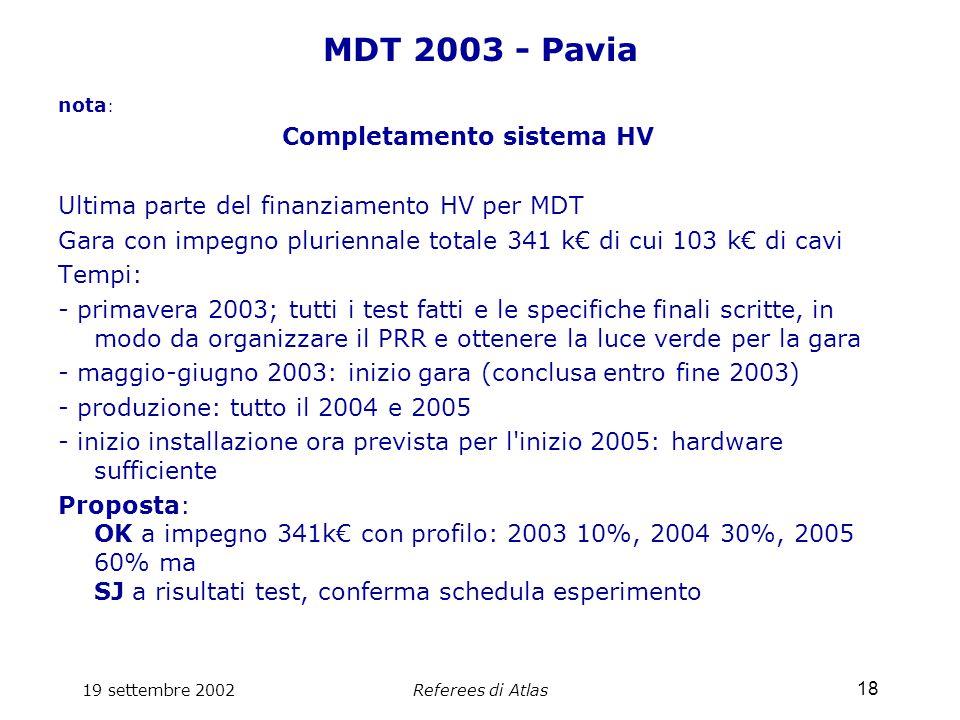 19 settembre 2002Referees di Atlas 18 MDT 2003 - Pavia nota : Completamento sistema HV Ultima parte del finanziamento HV per MDT Gara con impegno pluriennale totale 341 k€ di cui 103 k€ di cavi Tempi: - primavera 2003; tutti i test fatti e le specifiche finali scritte, in modo da organizzare il PRR e ottenere la luce verde per la gara - maggio-giugno 2003: inizio gara (conclusa entro fine 2003) - produzione: tutto il 2004 e 2005 - inizio installazione ora prevista per l inizio 2005: hardware sufficiente Proposta: OK a impegno 341k€ con profilo: 2003 10%, 2004 30%, 2005 60% ma SJ a risultati test, conferma schedula esperimento