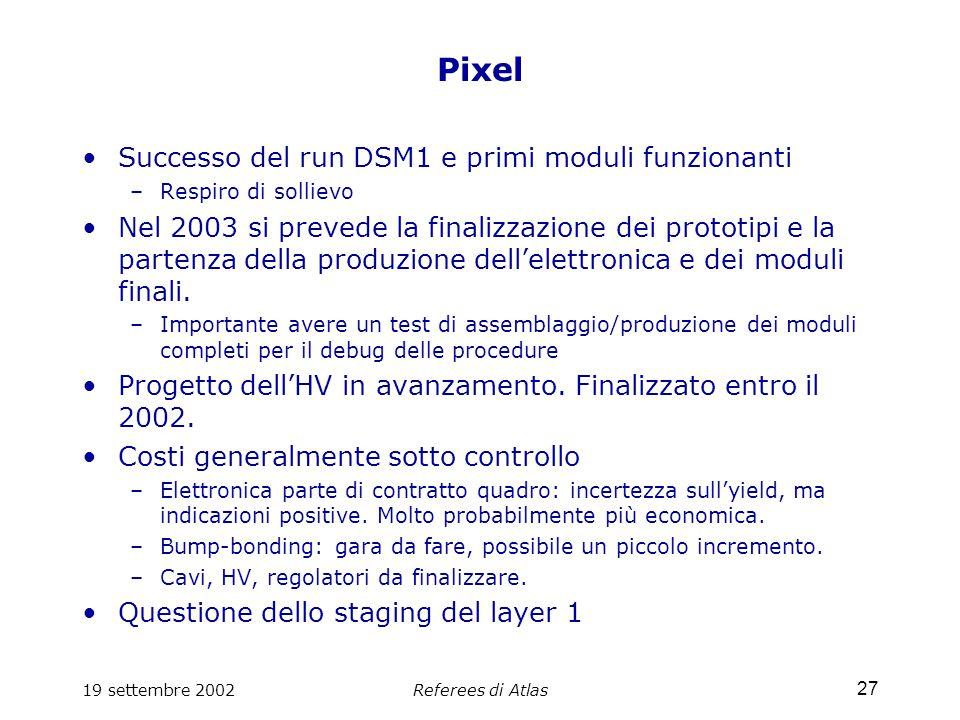19 settembre 2002Referees di Atlas 27 Pixel Successo del run DSM1 e primi moduli funzionanti –Respiro di sollievo Nel 2003 si prevede la finalizzazione dei prototipi e la partenza della produzione dell'elettronica e dei moduli finali.