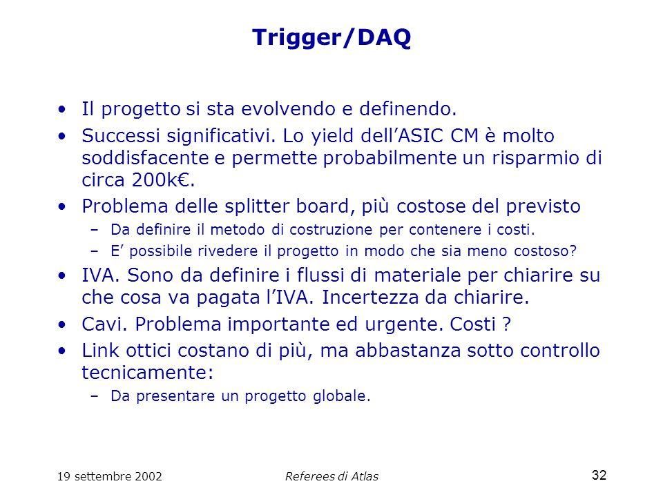 19 settembre 2002Referees di Atlas 32 Trigger/DAQ Il progetto si sta evolvendo e definendo.