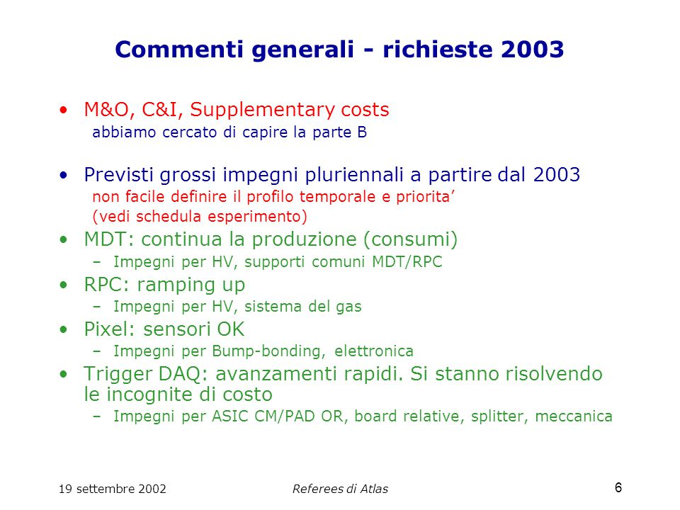 19 settembre 2002Referees di Atlas 37 M&O, C&I, Supplementary costs 2002 e 2003